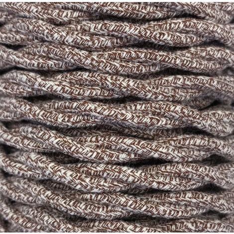 Tira 5m. cable decorativo textil trenzado marrón algodón batido (CABEXT2TA07)