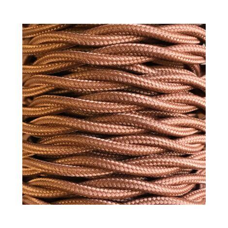 Tira 5m. cable decorativo textil trenzado marrón (CABEXT2P14)