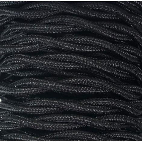 Tira 5m. cable decorativo textil trenzado negro mate (CABEXT2P19)