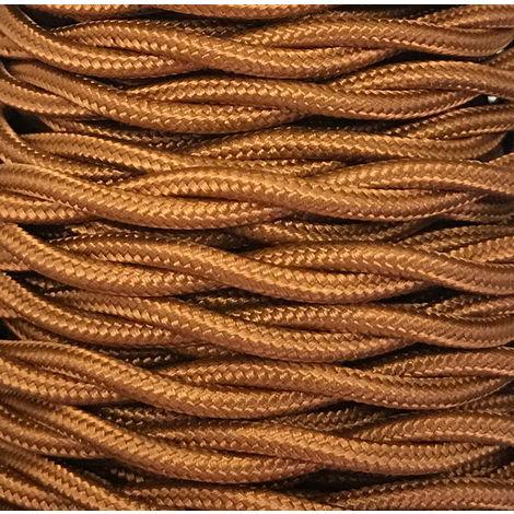 Tira 5m. cable decorativo textil trenzado oro viejo brillo (CABEXT2R06)
