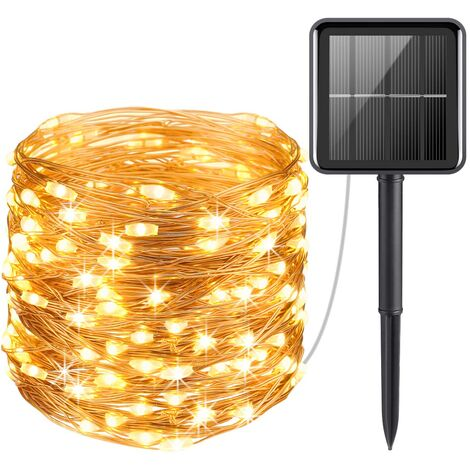 Tira de cinta de energía solar, luz de alambre plateado, lámpara de decoración impermeable para árbol de Navidad, Navidad, exterior, interior, jardín, decoración de banquete de boda