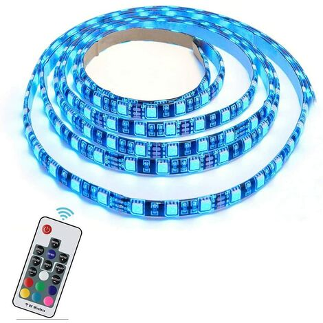 Tira de LED RGB LangRay, retroiluminación LED 30/60 LED 5050 Tira de luz LED RGB USB flexible con cable USB de 5 V y mini controlador para TV, PC, iluminación de fondo de computadora (2 m RGB + control remoto) [Class energy A +]