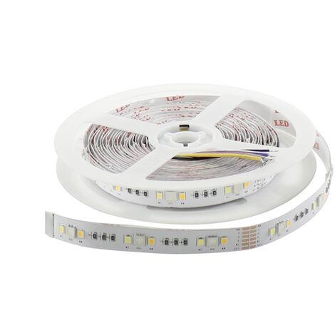 "main image of ""Tira de LED RGB+W+WW 50W 12V DC SMD5050 30L/m + SMD 2835 60L/m 10W/m IP20 (5 metros) RGBW   IluminaShop"""