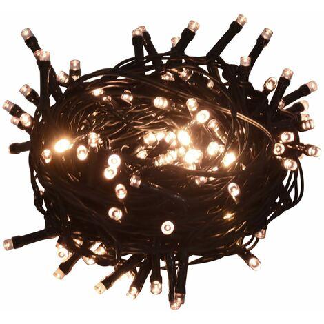 Tira de luces 400 LEDs interior exterior IP44 40m blanco cálido