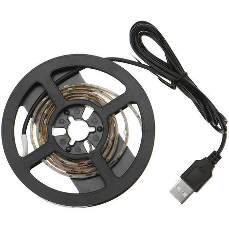 Tira de luz LED USB Cadena de luz LED impermeable con luz de fondo de TV USB de 5V (blanco cálido, USB 5M)