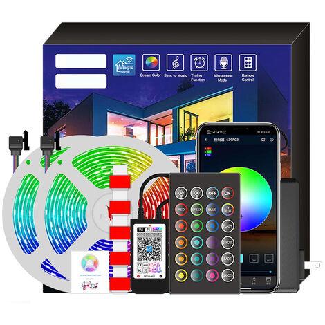 Tira del RGB LED inteligente luz de tira de iluminacion y de la musica de control de ajustes de voz 20 metros 360LED enchufe europeo, blanca