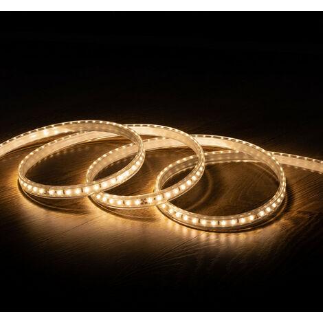 Tira LED 220V AC 100 LED/m Blanco Cálido IP67 CRI85 a Medida Corte cada 10 cm