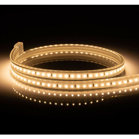 Tira LED 220V AC 120 LED/m Blanco Cálido IP65 a Medida Corte cada 50 cm