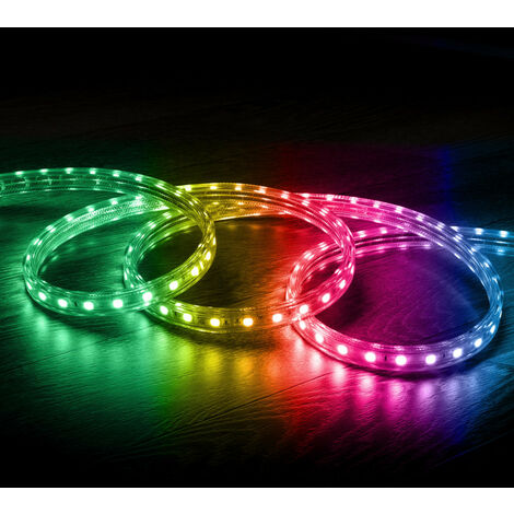 Tira LED 220V AC 60 LED/m RGB IP65 a Medida Corte cada 100cm .2m - 2m