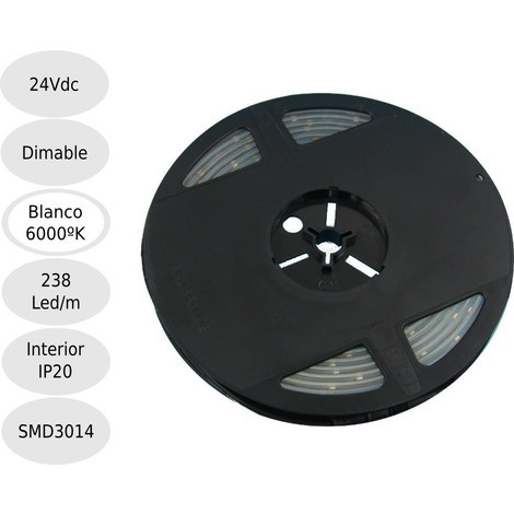 Tira led 24V 6000K 238leds IP20 SMD3014 Bobina 5 mts
