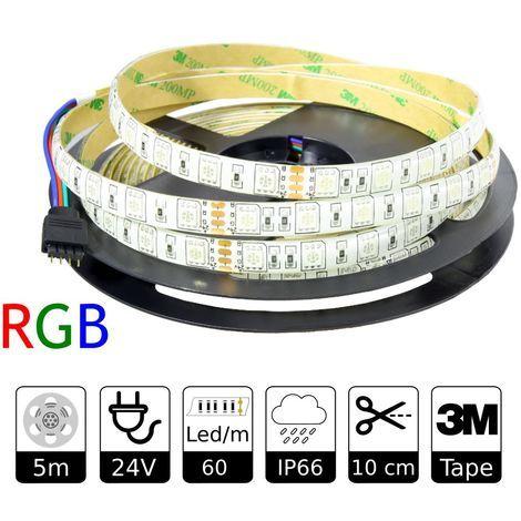 Tira Led 24v RGB Exterior 60led/m Smd5050 Adhesivo 3m Bobina 5m