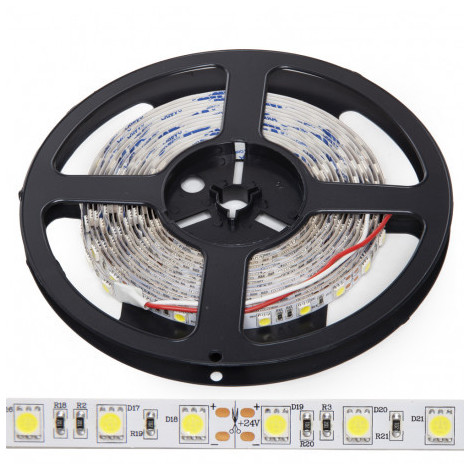 Tira LED 300 x SMD5050 14,4W/M 24VDC IP20 5M x 5M   Blanco Cálido (KI-R5031072W2-WW)