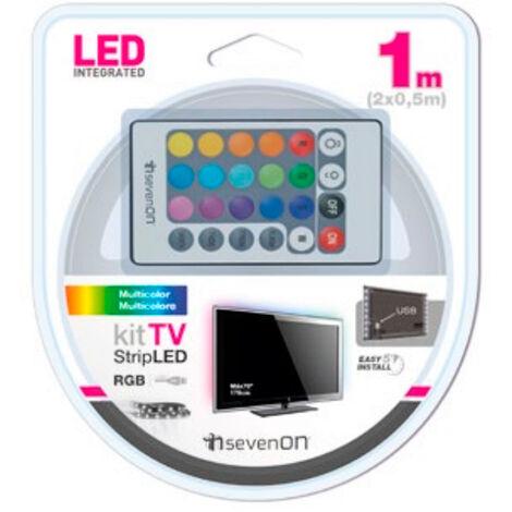 Tira LED adhesiva colores c/mando TV 1m