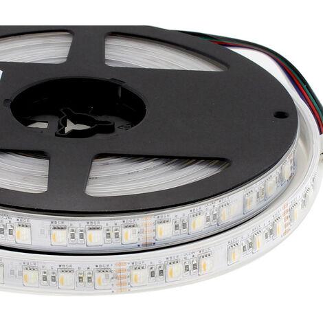 Tira LED EPISTAR SMD5050, RGB+W, DC24V, 5m (84Led/m 4 en 1) - IP67