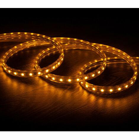 Tira LED Regulable 220V AC 60 LED/m Amarillo IP65 a Medida Corte cada 100cm