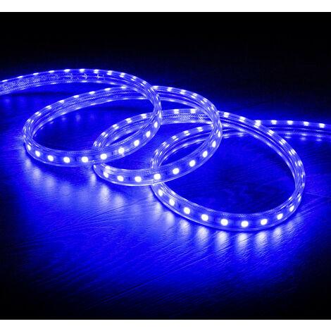 Tira LED Regulable 220V AC 60 LED/m Azul IP65 a Medida Corte cada 100 cm