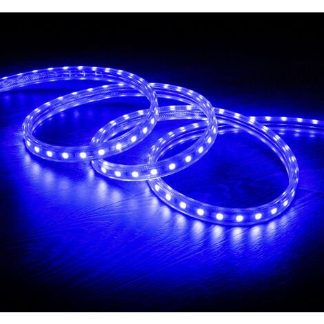 Tira LED Regulable 220V AC 60 LED/m Azul IP65 a Medida Corte cada 100cm