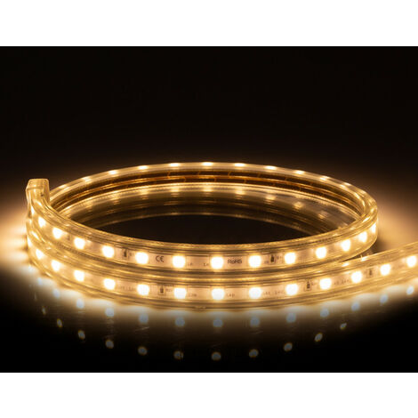 Tira LED Regulable 220V AC 60 LED/m Blanco Cálido IP65 a Medida Corte cada 100cm