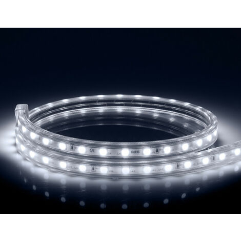 Tira LED Regulable 220V AC 60 LED/m Blanco Frío IP65 a Medida Corte a los 100cm