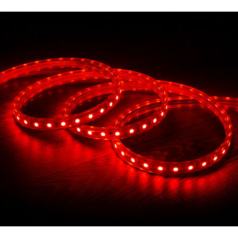 Tira LED Regulable 220V AC 60 LED/m Rojo IP65 a Medida Corte cada 100cm