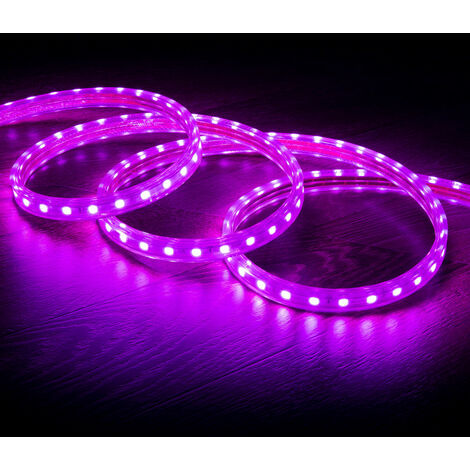 Tira LED Regulable 220V AC 60 LED/m Violeta IP65 a Medida Corte cada 100 cm