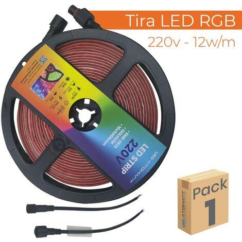 Tira LED RGB 5M Directa 220V 12W/m 60LED/m Corte 12,5cm IP65 A++ | Pack 10 Uds. - Pack 10 Uds.