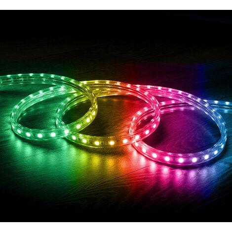 Tira LED RGB con Control Remoto IR 220V AC 60 LED/m IP65 a Medida Corte cada 100 cm 19m - 19m