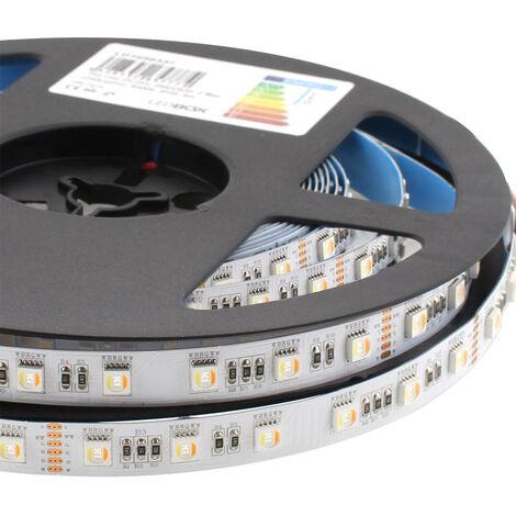 Tira LED SAMSUNG SMD5050, RGB+CCT, DC24V, 5m (60Led/m 5 en 1) - IP20, RGB + Blanco dual - RGB + Blanco dual