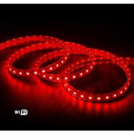 Tira LED Smart WiFi 220V AC 60 LED/m Rojo IP65 a Medida