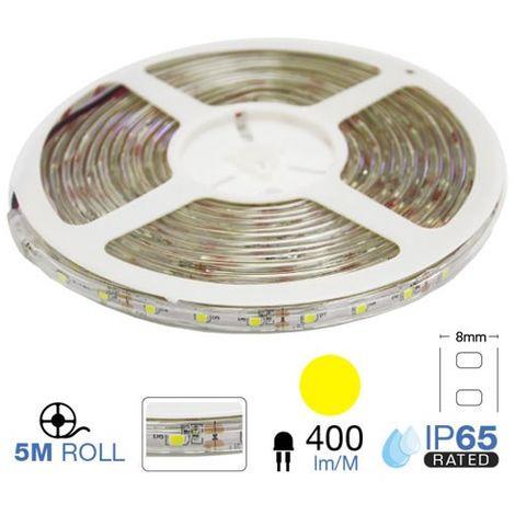 Tira led SMD3528 amarillo 3.6W/m 60 leds/m 12V IP65 5 metros