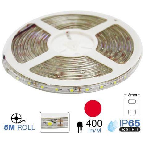 Tira led SMD3528 rojo 3.6W/m 60 led/m 12V IP65 5 metros