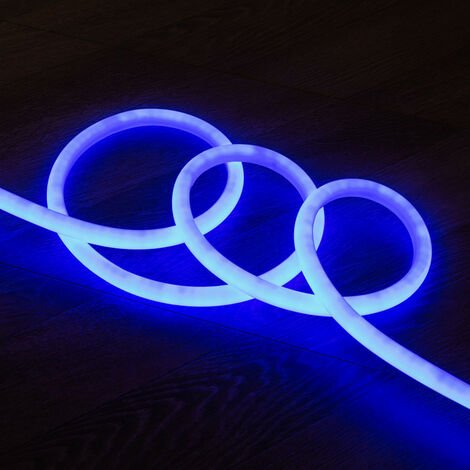 Tira Neón LED Regulable 220V AC 120 LED/m Circular 360 Azul IP67