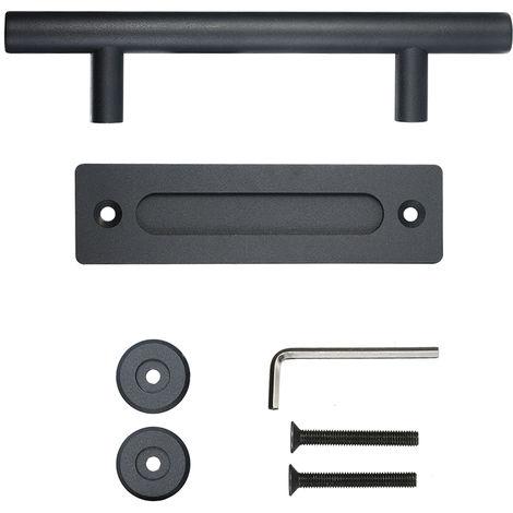 Tirador de puerta de granero, asa redonda, tirador para armario, negro, 30 cm