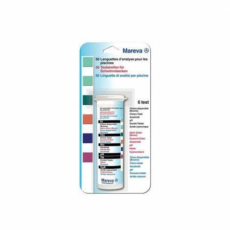 Tiras reactivas MAREVA para piscinas - 6 pruebas - 50 tiras - 204187