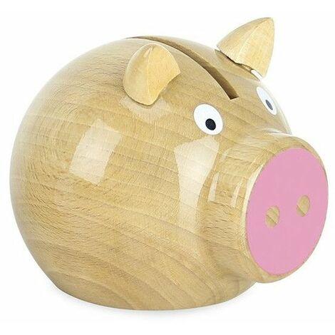 Tirelire cochon bois naturel-rose - Vilac - Jeux et jouets