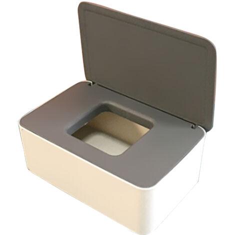 Tiron mascara desechable Caja de almacenamiento a prueba de polvo cubierta de la mascara Caso caja del tejido mojado con tapa portatil para el trabajo a domicilio al aire libre, gris y blanco