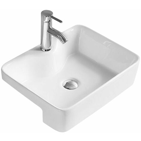 Tirso 480mm x 370mm Rectangular Semi Recessed Basin with 1 Tap Hole