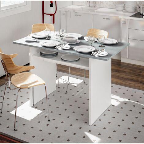 Tisch 120x70 cm Klapptisch Mattweiß und Zement   Zement/Weiß