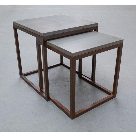 Tisch Betontisch Grau 2-teilig Stahl & Beton modern Outdoor ...