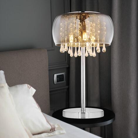 Tisch Lampe Leuchte Beleuchtung Glas Glaskristalle Chrom Wohn Schlafzimmer Büro