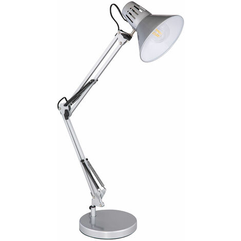 Tisch Lampe silber Wohn Zimmer Klemm Strahler Spot Gelenk Lese Leuchte verstellbar Globo 28049SI