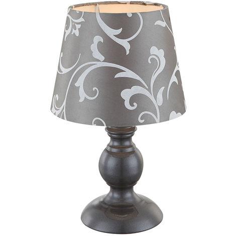 Tisch Leuchte Blumen Ranken Design Wohn Schlaf Zimmer Lese Nacht Licht Textil Lampe grau Globo 21693