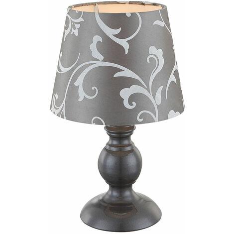 Tisch Leuchte Design Wohn Zimmer Lese Nacht Licht Textil Lampe grau im Set inkl. LED Leuchtmittel