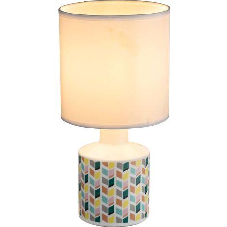 Tisch Leuchte Wohn Zimmer Keramik Textil Lese Beistell Lampe Rauten im Set inkl. LED Leuchtmittel
