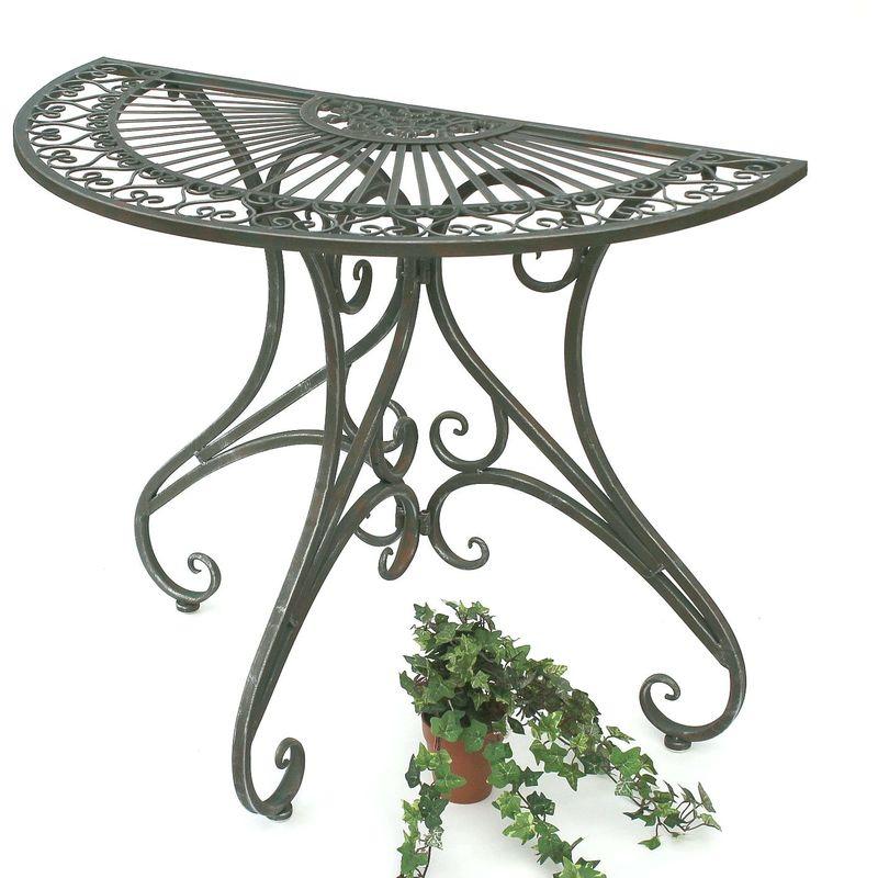Denk - DanDiBo Tisch Halbrund Wandtisch Halbtisch 130434 Beistelltisch aus Metall 90 cm Gartentisch Konsole