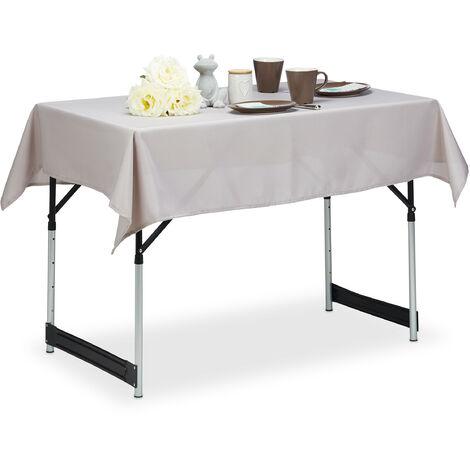 Tischdecke wasserabweisend, pflegeleicht, Polyester-Tischtuch, bügelfest, Gartentischdecke 110 x 140 cm, taupe