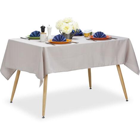 Tischdecke wasserabweisend, pflegeleicht, Polyester-Tischtuch, bügelfest, Gartentischdecke 140 x 180 cm, taupe