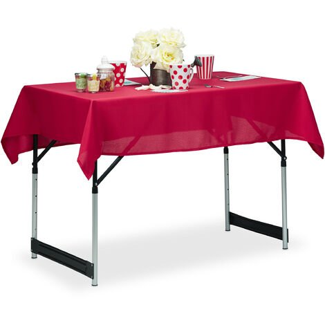 Tischdecke wasserabweisend, pflegeleicht, Polyester-Tischtuch, bügelfest, Gartentischdecke eckig 110x140, rot