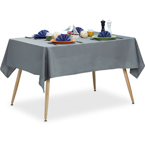 Tischdecke wasserabweisend, pflegeleicht, Polyester-Tischtuch, bügelfest, Gartentischdecke eckig 140x180, grau