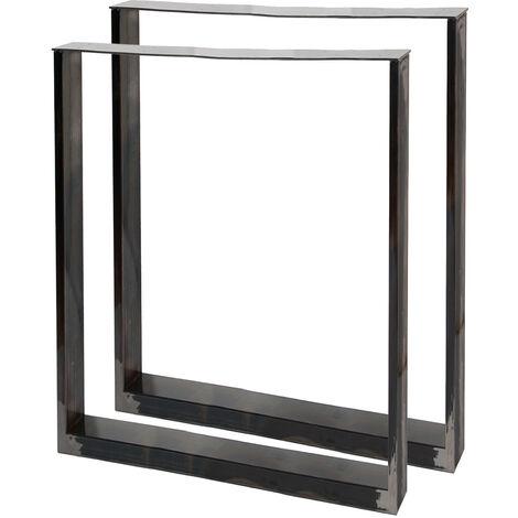 Tischkufen Tischbeine aus Vierkantprofilen 60x72cm lackierter Stahl klarlackbeschichtet Tischgestell